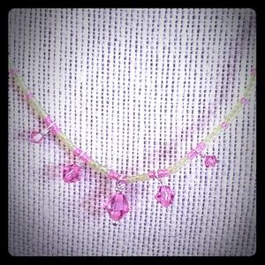 Rose and Lime Crystal Dangle Choker Necklace